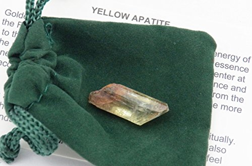 Fundamental Rockhound Products: Rough Mexican Apatite Crystal from Mina de La Ojuela gemstone with carrying pouch, info card, stone certification (3 gram - Gemstone Mexican