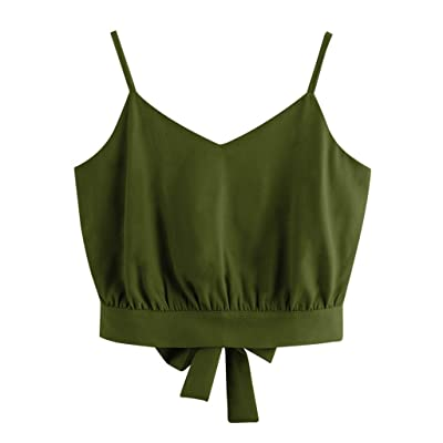 Crop Top Tank Tops for Women, Loose Casual Summer Bow Tie Back V Neck Sexy Crop Cami Top Camisole Blouse Vest Tops at Women's Clothing store