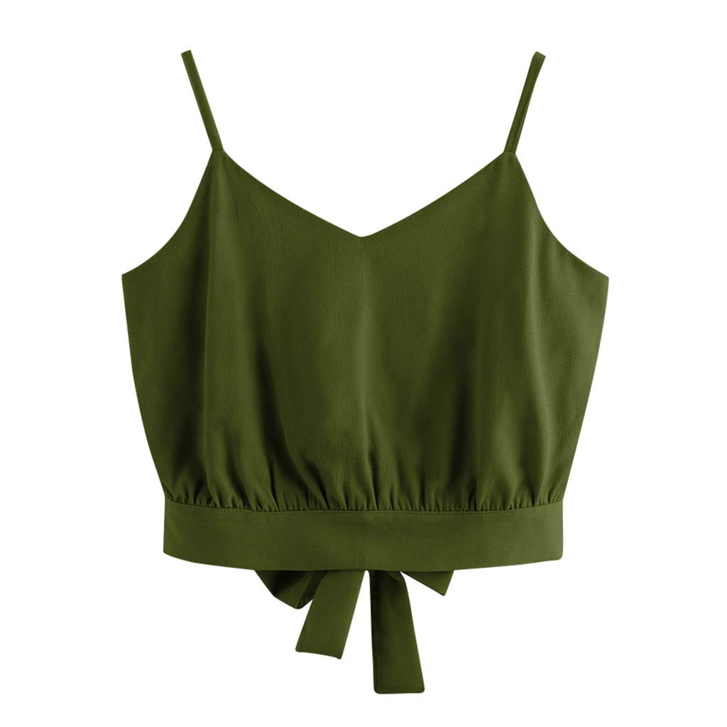 Pervobs Women's Casual Summer Sleeveless Back Tie Bow Soild V Neck Crop Cami Top Tank Tops Blouse Shirts(US: 8, Army Green)