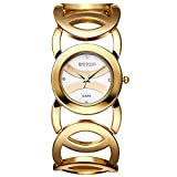 JIANGYUYAN Clearance Womens Ladies Unique Fashion Classic Casual Luxury Business Dress Runway watches Quartz Gold-tone Round Dial Stainless Steel Goldtone Round-Hollowed Bracelet Bangle wristwatch