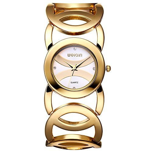 Dress Tone Watch Gold Dial (JIANGYUYAN Clearance Womens Ladies Unique Fashion Classic Casual Luxury Business Dress Runway watches Quartz Gold-tone Round Dial Stainless Steel Goldtone Round-Hollowed Bracelet Bangle wristwatch)