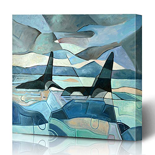 Ahawoso Canvas Prints Wall Art 12x12 Inches Blue Oil Abstract Painting Two Killer Whales Swimming Nature Orca Coast Mammal Decor for Living Room Office Bedroom