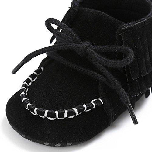 Soft Kleinkind shoes Baby Sneakers Quaste Slip Girls Sole BZLine® Krippe Schwarz Boys Anti EBqCd