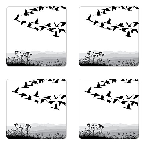 Ambesonne Mountains Coaster Set of Four, Monochrome Silhouette of Flying Geese in Greyscale Landscape Background, Square Hardboard Gloss Coasters for Drinks, Black White Grey