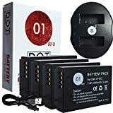 DOT-01 4x Brand Canon EOS M100 Batteries and Dual Slot USB Charger for Canon EOS M100 DSLR and Canon M100 Battery and Charger Bundle for Canon LPE12 LP-E12