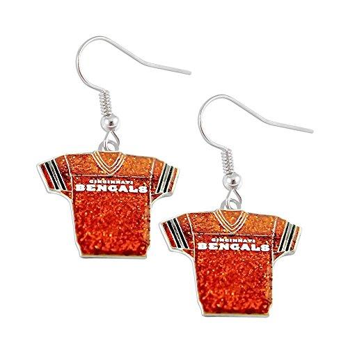 (Sports Team Cincinnati Bengals Jersey Dangle Glitter Earring)