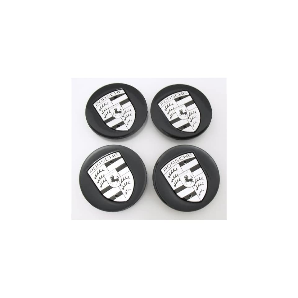 4pcs Porsche Black with Silver Wheel Center Caps 997 993 911 968 Cayenne Boxter Carrera