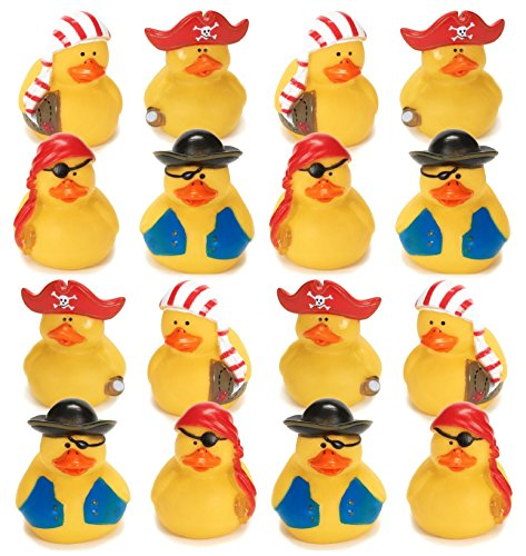 Pack Of 16 Pirate Rubber Duckys - Party Favor Ducks - Gifts - Cake Toppers