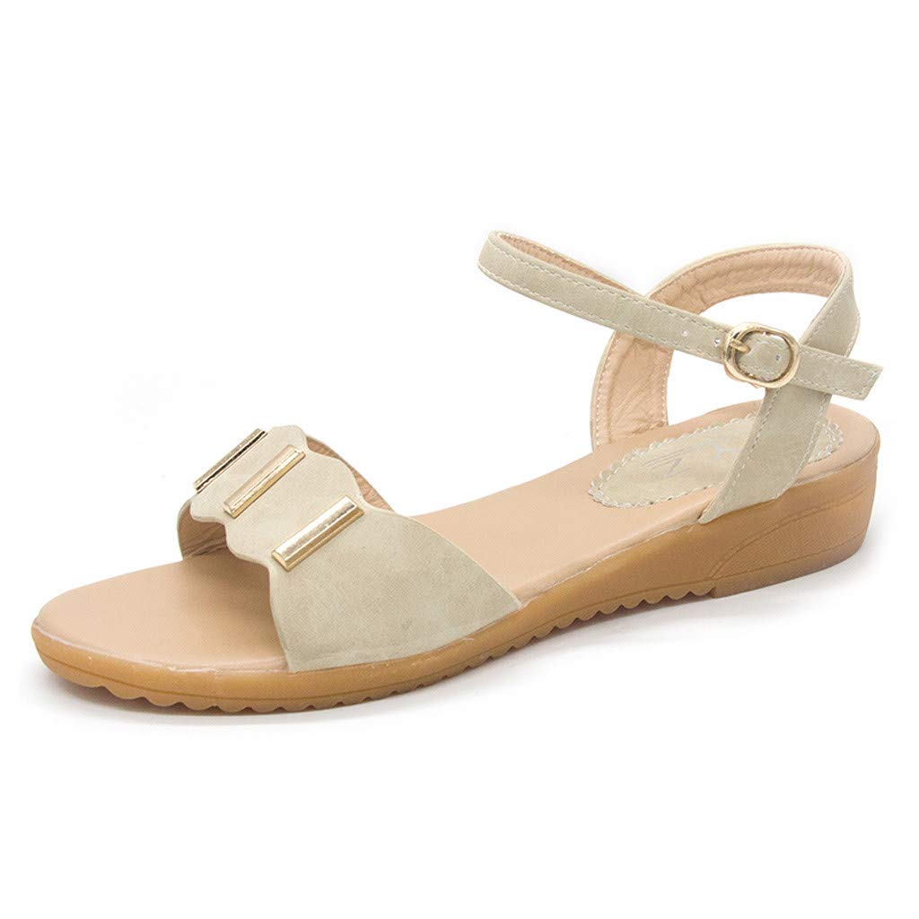 〓COOlCCI〓2019 New Women's Cute Open Toes One Band Ankle Strap Flexible Summer Flat Sandals Beach Beige by COOlCCI_Shoes