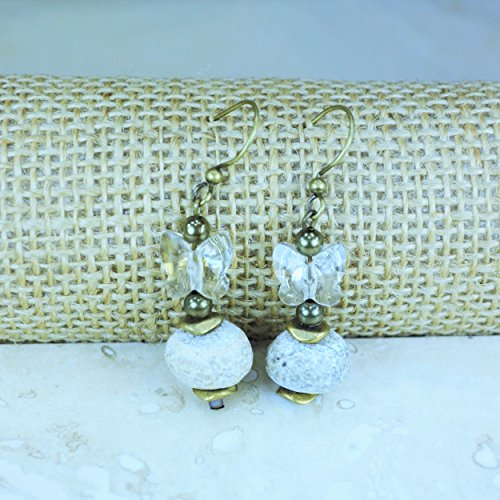 Woolly Mammoth Bone Bead Swarovsky Butterfly Earrings (Mammoth Ivory Jewellery)