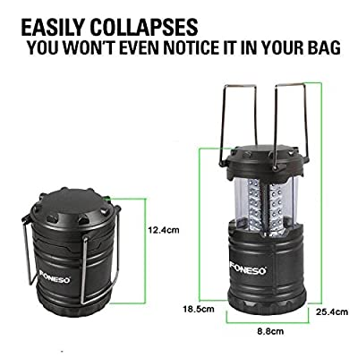 LED Camping Lantern, Foneso Ultra Bright Portable Outdoor Flashlights, Emergency Collapsible Lantern Lights with Metal Hook Loop (Pack of 2)