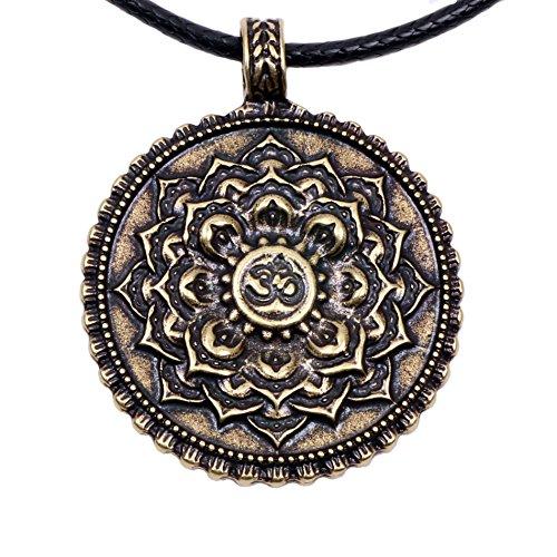 Paw Paw House Om Lotus Mandala Necklace Pendant Yoga Tibetan Buddhism Gift Meditation Yoga Inspired Bohemian Boho Jewelry for Women (4029Br)