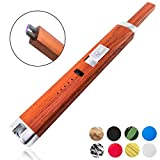 Sparcker Electric Arc Lighter - 9 Colors - Multipurpose - Safety Lock - Long Neck - USB Rechargeable - Flameless - Windproof - No Butane - Candle - BBQ - Camping - Grill - Stove - Kitchen (Red Wood)