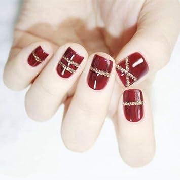 Amazon.com: 24 uñas postizas de acrílico corto 12 tamaños ...