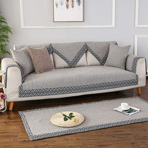Japanese-Style Sofa Cover, Sofa Slipcover Flax Non-Slip Stain Resistant Home Protection Cover Couch Covers for Living Room Leather Sofa 1 2 3 Cushion Couch-A gray-110x210cm(43x83inch)
