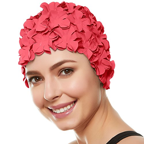 (Beemo Floral Petal Ladies Bathing Swim Cap - Coral Pink)
