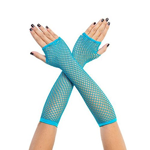 Gloves Costume Accessory Hand Accessories Halloween Neon Blue Fishnet Arm Warmers -
