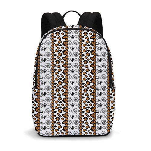 Zambia Modern simple Backpack,Cheetah Leopard Skin Pattern with Wildlife Featured Spirals Illustration for school,11.8