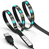 TV LED Light Strip JACKYLED 6.6Ft 60Leds LED TV Backlight Strip USB Bias Monitor Lighting RGB 5050 SMD Changing Color Strip Kit Accent light Set For TV Desktop PC (Mini Controller)