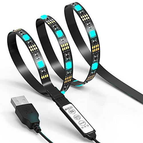 TV LED Light Strip JACKYLED 6.6Ft 60Leds LED TV Backlight Strip USB Bias Monitor Lighting RGB 5050 SMD Changing Color Strip Kit Accent light Set For TV Desktop PC (Mini Controller) - Use Desktop Computer