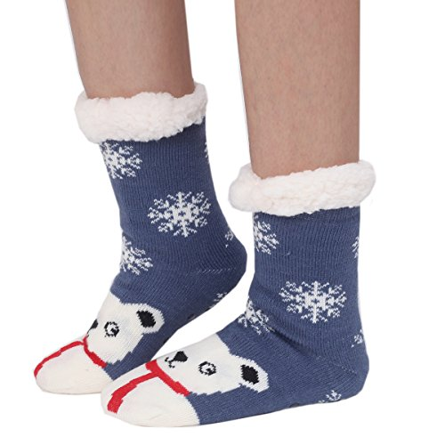 Cartoon Womens Cozy Non Cute Animals Warm Marlong Indoor Winter 02snowman Slip Socks Soft Slipper fuzzy 0qdnFxI
