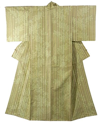 プロフェッショナルクリケット醜いリサイクル 着物 紬 経緯絣 縦縞に植物文様 正絹 袷 裄61.5cm 身丈158cm