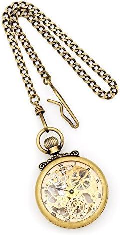アンティークゴールド仕上げ真鍮スケルトンポケットWatch by Charles Hubert Paris腕時計