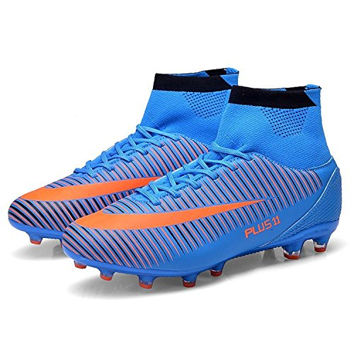 H-Mastery Hombre Adolescentes AG Botas de Fútbol Profesionales Aire Libre Atletismo Turf Training Azul