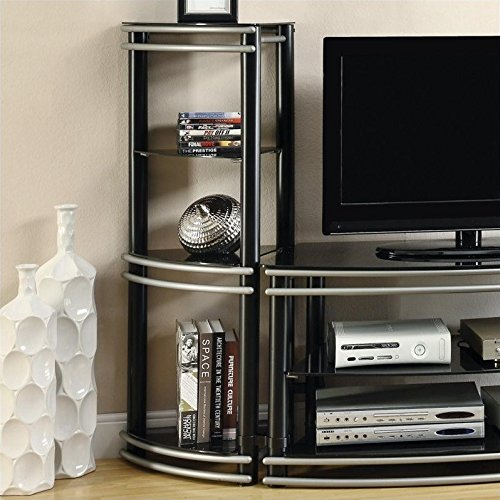 Coaster Contemporary Black and Silver Media Tower