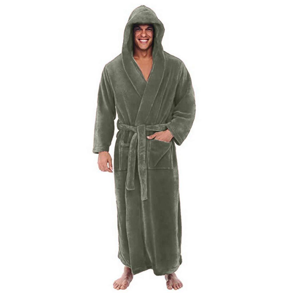 Clearance Sales Men s Winter Plush Shawl Hooded Bathrobe Lengthened Thicken  Kimono Robe Homewear Soft Sleepwear Robe Coat at Amazon Men s Clothing  store  8a3f7836c