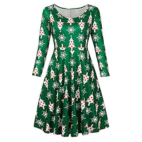 Loose Swing Dress Plus Size,Vintage Christmas Santa Printed Costume A-Line Dresses (S, Green)