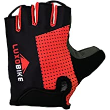 LuxoBike Cycling Gloves Bicycle Gloves Bicycling Gloves Mountain Bike Gloves – Anti Slip Shock Absorbing Gel Padded Breathable Half Finger Short Sports Gloves Accessories for Men/Women