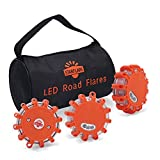 StarFlare LED Road Flares Emergency Disc Red Safety Light Flashing Roadside Beacon for Car Truck with Storage Bag and Batteries( Pack of 3 )