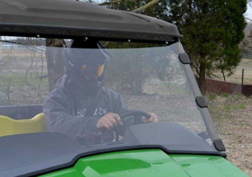 SuperATV Heavy Duty Scratch Resistant Full Windshield for John Deere Gator XUV 550 560 S4 570 590i / RSX 850 (See Fitment For Compatible Years) - Installs in 5 Minutes!