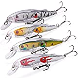 TROUTBOY Fishing Topwater Lures Group Fish Minnow Plastic Fishing Bait for Saltwater Freshwater Bass Trout Walleye Salmon Musky Fishing (Pack of 4) Review