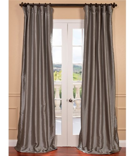 Silver Shimmer Pocket (Half Price Drapes PTCH-BO112-108 Blackout Faux Silk Taffeta Curtain, Platinum)