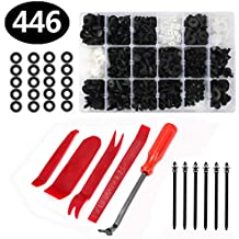 446 Pcs Car Retainer Clips, Aiskki Auto Plastic Clips & Fasteners Kit with Fastener Removal Tool for Bumper Bar, Trim Panel and Dashboard Replacement, for BMW Benz Mazda GM Ford Toyota Honda etc