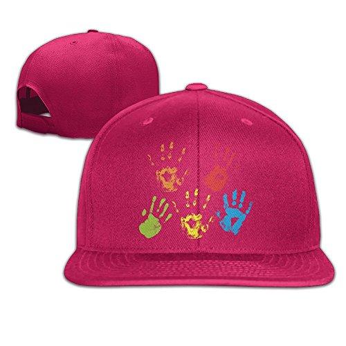 Aiguan Palms of Color Flat Visor Baseball Cap, Fashion Snapback Hat Red