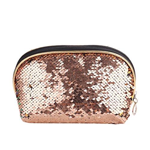 Make Kosmetische Federmäppchen Champagne Tasche Pailletten Geldbörse up Münzfach Senoow Lagerung Reißverschluss Frauen wPaBInEqx