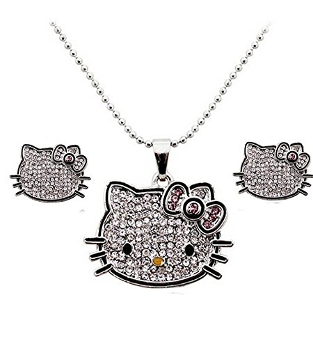 Hello Kitty Girls Jewelry ~ Hello Kitty Necklace and Earrings Set (Y2684)