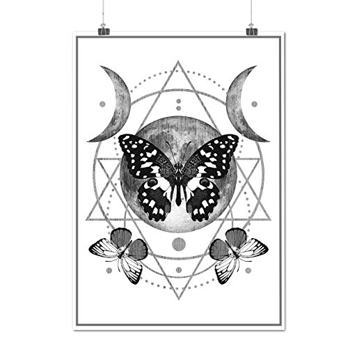 Moon Cycle Butterfly Midnight Matte/Glossy Poster A2 (17x24 inches) | Wellcoda