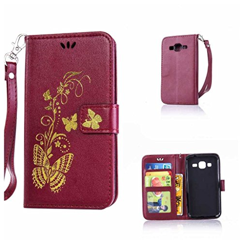 KKEIKO Galaxy Core Prime Case + Free Tempered Glass Screen Protector, Galaxy Core Prime Wallet Case, Leather Flip Cover Slim Fit Book Style Holster Case for Samsung Galaxy Core Prime (Butterfly #5)