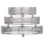 Amalfi Decor Cake Stand Plateau Riser, Round Metal Pedestal Holder, Silver, Set of 3 6 Individual diameters of the trays are 8 inches, 10 inches, 12 inches and are 2.5 inches tall Ornate hand-crafted baroque style steel frames, decorated with reflective mirrored surface tray tops Painted in a food safe water-based silver color paint and finished with a semi-matte metallic look; Can be used to serve food and appetizers or used as buffet stands