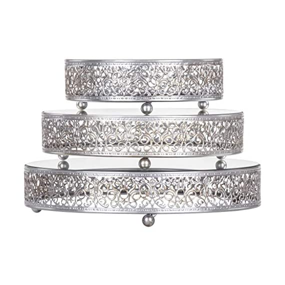 3-Piece Round Mirror-Top Cake Stand Risers Dessert Tray Set 2 This 3 piece cake stand riser set is perfect to showcase your favorite cakes and desserts at any wedding, birthday party, baby shower, anniversary, quinceanera, and any other event or special occasion Dimensions: The top surface plate diameter from small to large is 8 inches, 10 inches, and 12 inches wide, respectively; they all stand at 2.5 inches tall, and are supported by 3 metal ball legs The design features mirrored surface tops and an ornate hand-crafted steel frame