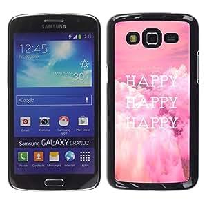 Smartphone Rígido Protección única Imagen Carcasa Funda Tapa Skin Case Para Samsung Galaxy Grand 2 SM-G7102 SM-G7105 Happy Life Quote Happiness Lifestyle Positive / STRONG