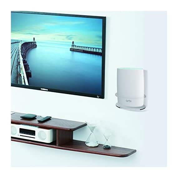 Netgear Orbi Wall Mount, BASSTOP Sturdy Clear Acrylic Wall Mount Bracket for NETGEAR ORBI AC3000/AC2200 Tri Band Home WiFi Router 7 Clean Look: Compact and lightweight,Looks clean and classic with your Orbi WiFi Router Better Signal: No interference and acquire better wifi signal and when mounting up, prevent your children or pets to play with it without dropping Save Space: Save your limited space and keep your device away from any water or others that might accidentally spill or splash