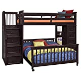 NE Kids School House Stair Loft Bed with Chest End in Chocolate