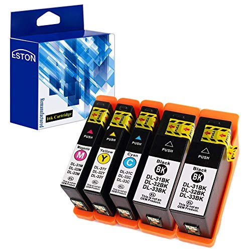 ESTON Compatible Ink Cartridge Replacement for Dell Series 31 Black and Series 31 Color for Dell V525w/ V725w All-in-One Printer (Black,Cyan,Magenta,Yellow - 5 Pack) ()