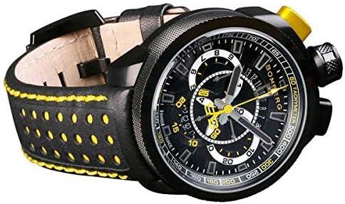[ボンバーグ] メンズ 腕時計 クオーツ クロノグラフ 懐中時計 ポケットウォッチ ボルト68 BOLT-68 BS45CHPBA.015.3 革ベルト 黒 黄 ブラック イエロー