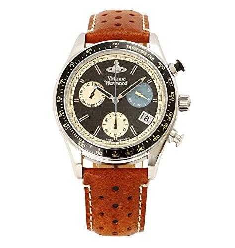Vivienne Westwood watch SOTHEBY Black Dial Chronograph Brown Leather Quartz VV142BKTN Men's parallel import goods]